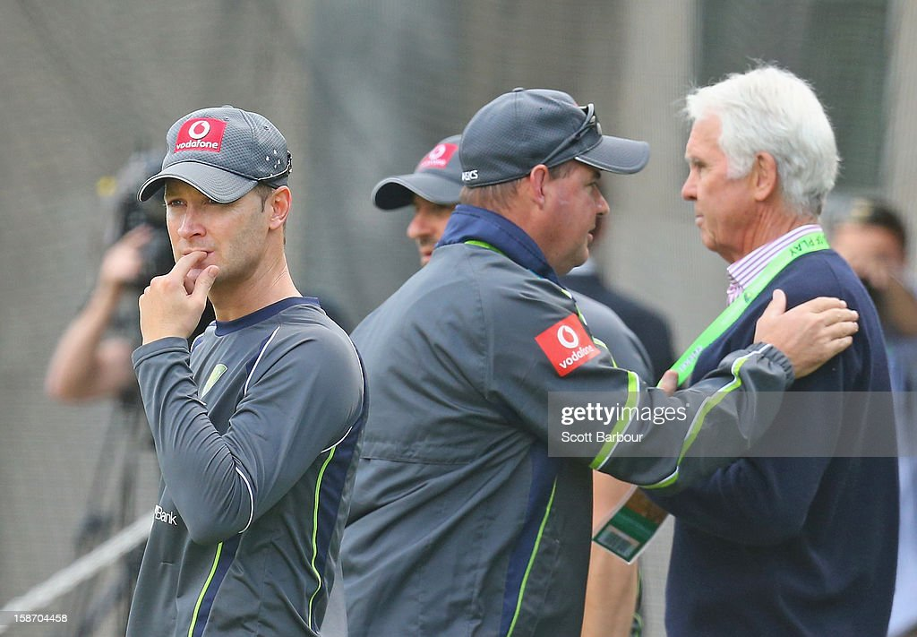 Australian captain Michael Clarke (L) looks on as Australian Chairman of Selectors John Inverarity (R) and Australian coach <a gi-track='captionPersonalityLinkClicked' href=/galleries/search?phrase=Mickey+Arthur&family=editorial&specificpeople=789398 ng-click='$event.stopPropagation()'>Mickey Arthur</a> talk during an Australian nets session at Melbourne Cricket Ground on December 25, 2012 in Melbourne, Australia.