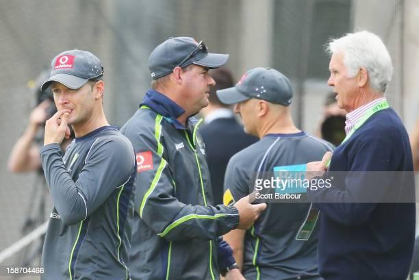 Australian captain Michael Clarke looks on as Australian Chairman of Selectors John Inverarity Australian Cricket Team Physiotherapist Alex...