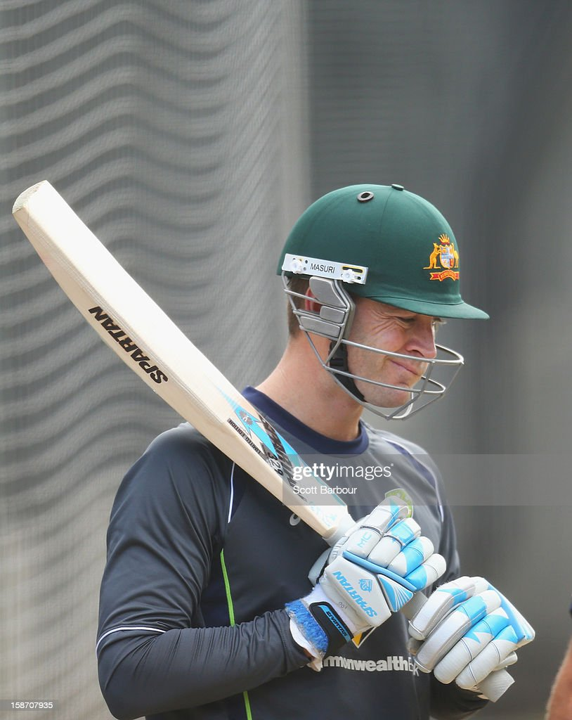 Australian captain Michael Clarke looks on during an Australian nets session at Melbourne Cricket Ground on December 25, 2012 in Melbourne, Australia.