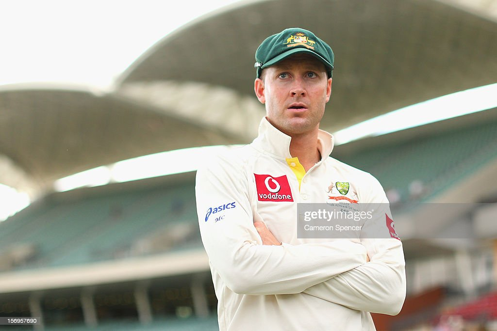 Australian captain Michael Clarke looks on following the end of play on day five of the Second Test Match between Australia and South Africa at Adelaide Oval on November 26, 2012 in Adelaide, Australia.