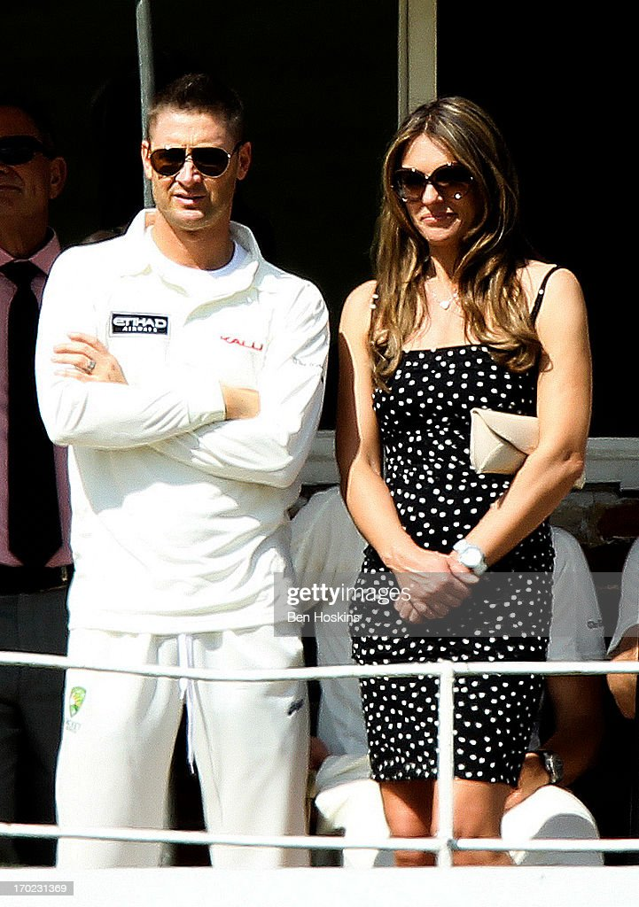 Australian Captain Michael Clarke looks on with Elizabeth Hurley during Shane Warne's Australia vs Michael Vaughan's England T20 match at Cirencester Cricket Club on June 09, 2013 in Cirencester, England.