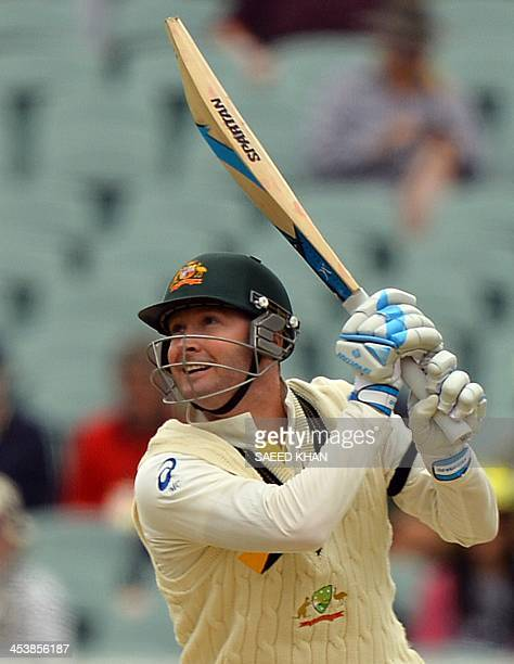 Australian captain Michael Clarke plays a shot during day two of the second Ashes Test cricket match against England in Adelaide on December 6 2013...