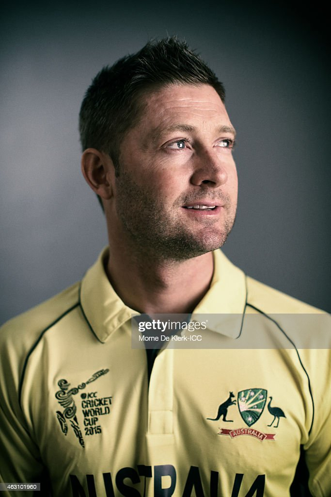 Australian captain Michael Clarke poses during the Australia 2015 ICC Cricket World Cup Headshots Session at the Intercontinental on February 7, ... - australian-captain-michael-clarke-poses-during-the-australia-2015-icc-picture-id463101960
