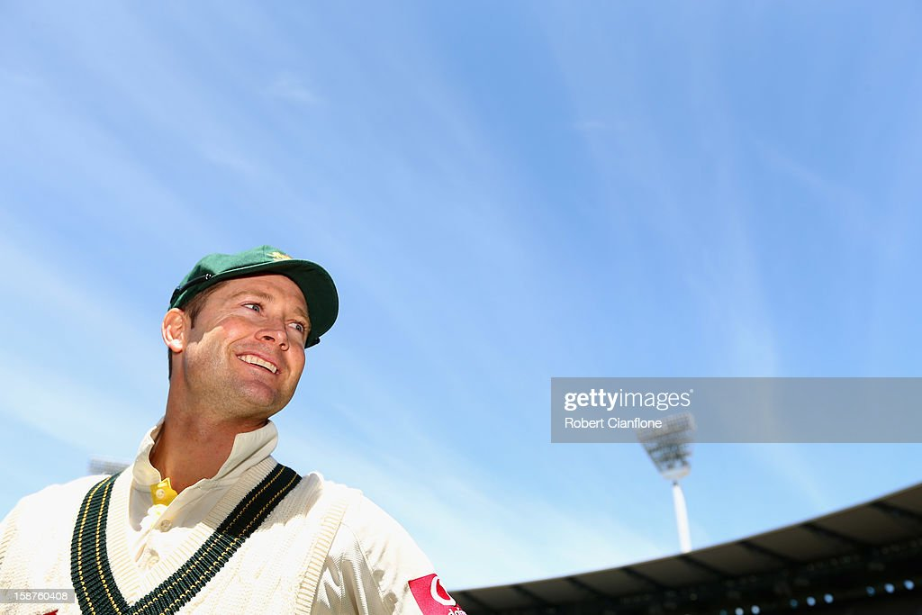 Australian captain <a gi-track='captionPersonalityLinkClicked' href=/galleries/search?phrase=Michael+Clarke+-+Joueur+de+cricket&family=editorial&specificpeople=175853 ng-click='$event.stopPropagation()'>Michael Clarke</a> smiles after Australia defeated Sri Lanka on day three of the Second Test match between Australia and Sri Lanka at Melbourne Cricket Ground on December 28, 2012 in Melbourne, Australia.