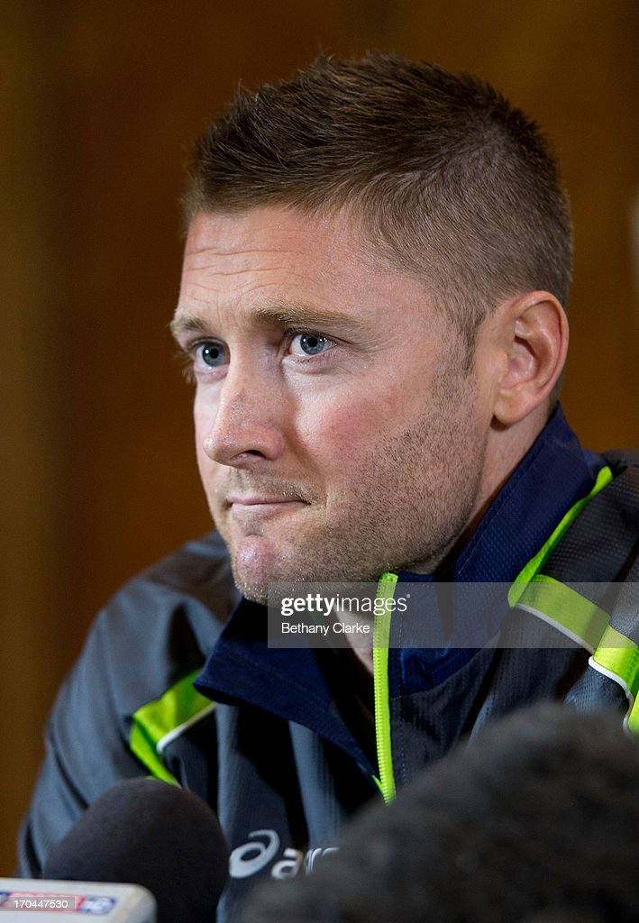 Australian Captain Michael Clarke talks to the press at Royal Garden Hotel on June 13, 2013 in London, England. David Warner and Captain Michael Clarke hold a press conference after David Warner was suspended for an alleged attack on England's Joe Root.