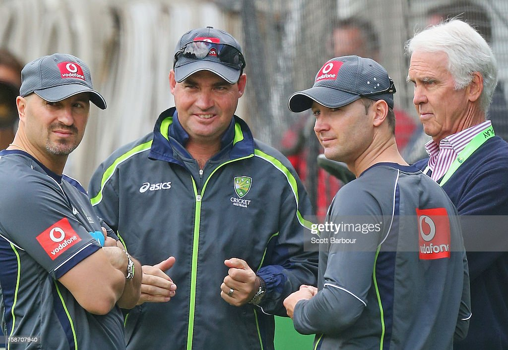 Australian captain Michael Clarke (2nd R) talks with Australian Chairman of Selectors John Inverarity (R), Australian coach <a gi-track='captionPersonalityLinkClicked' href=/galleries/search?phrase=Mickey+Arthur&family=editorial&specificpeople=789398 ng-click='$event.stopPropagation()'>Mickey Arthur</a> and Australian Cricket Team Physiotherapist Alex Kountouris (L) during an Australian nets session at Melbourne Cricket Ground on December 25, 2012 in Melbourne, Australia.