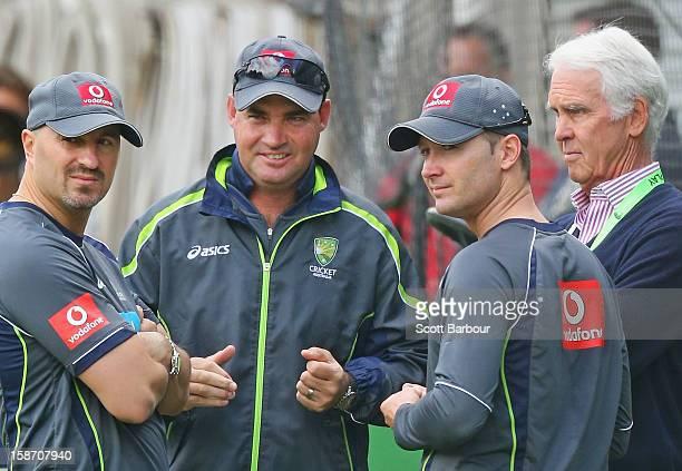Australian captain Michael Clarke talks with Australian Chairman of Selectors John Inverarity Australian coach Mickey Arthur and Australian Cricket...