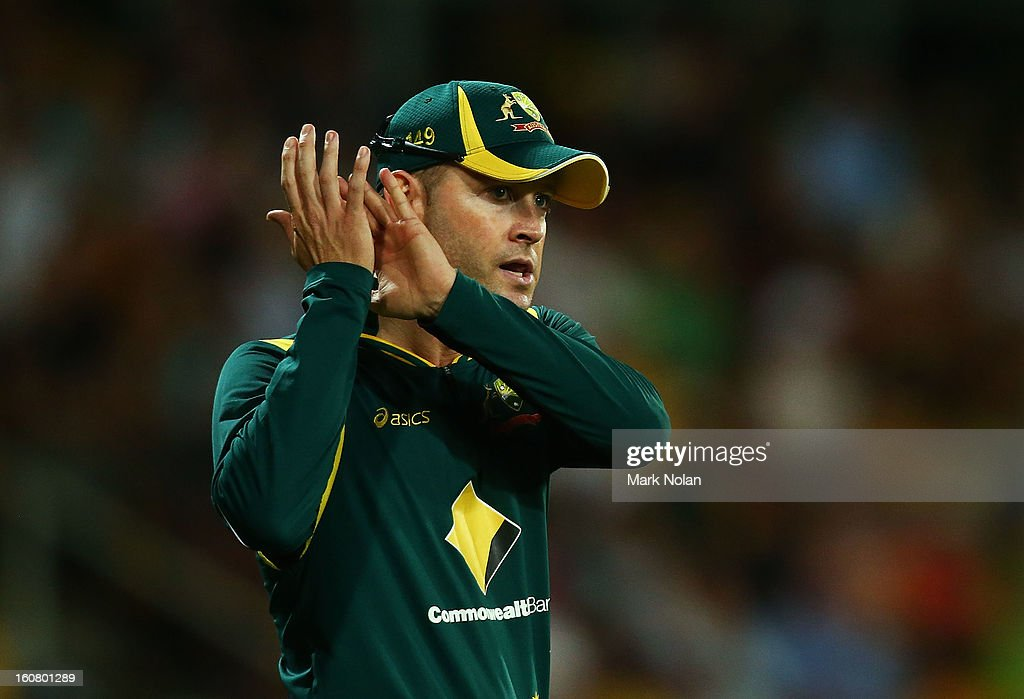 Australian captain <a gi-track='captionPersonalityLinkClicked' href=/galleries/search?phrase=Michael+Clarke+-+Cricket+Player&family=editorial&specificpeople=175853 ng-click='$event.stopPropagation()'>Michael Clarke</a> thanks the crowd in the outfield during the Commonwealth Bank One Day International Series between Australia and the West Indies at Manuka Oval on February 6, 2013 in Canberra, Australia.
