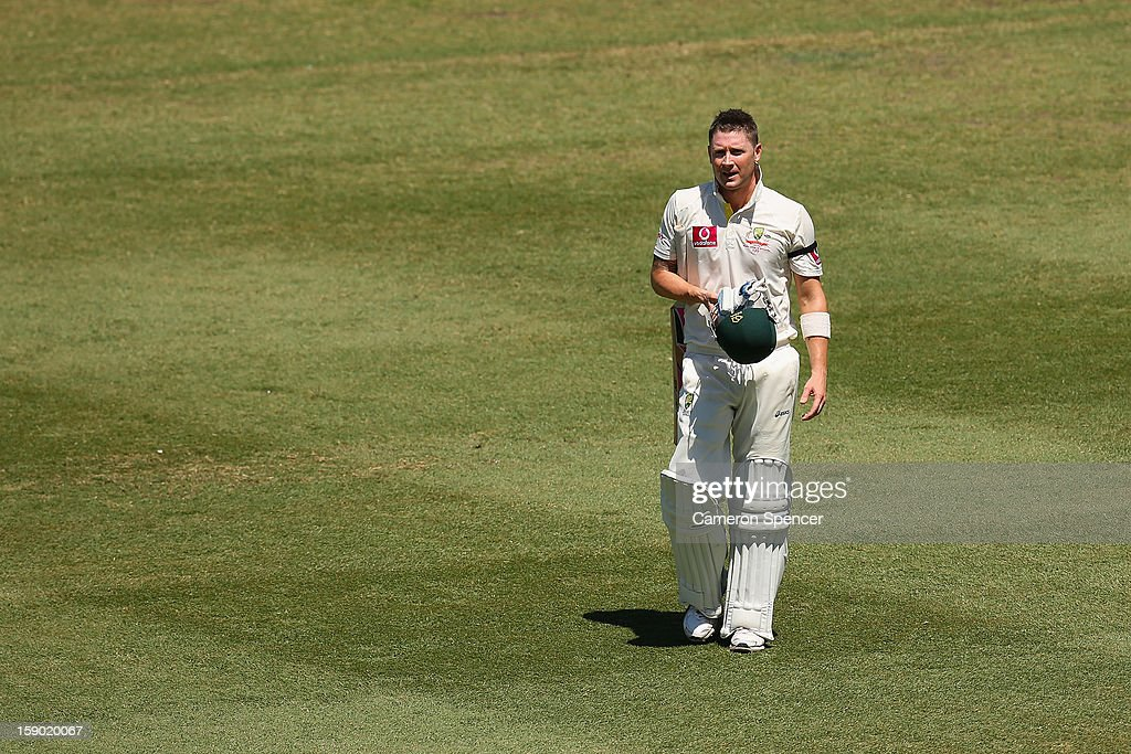 Australian captain Michael Clarke walks off the field after being dismissed by Tillakaratne Dilshan of Sri Lanka during day four of the Third Test match between Australia and Sri Lanka at Sydney Cricket Ground on January 6, 2013 in Sydney, Australia.