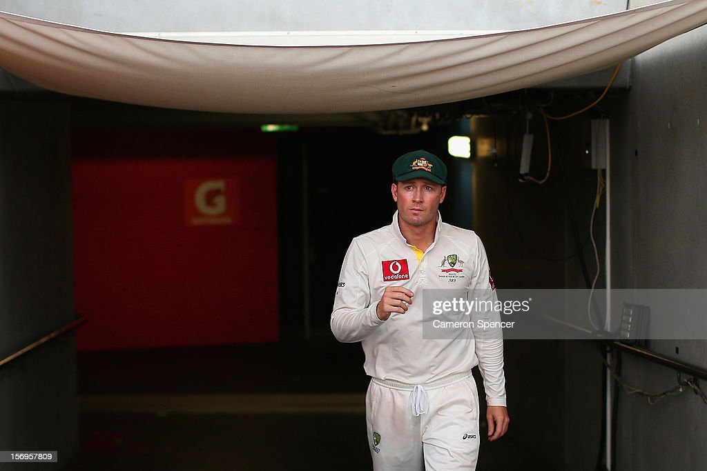 Australian captain Michael Clarke walks onto the field for media interviews following the end of play on day five of the Second Test Match between Australia and South Africa at Adelaide Oval on November 26, 2012 in Adelaide, Australia.