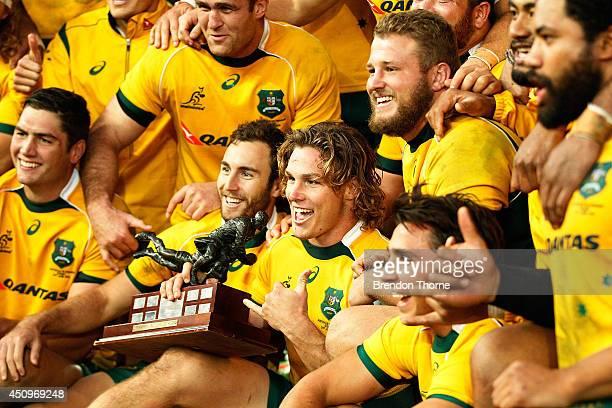 Australian Captain Michael Hooper of the Wallabies celebrates with team mates following the International Test match between the Australia Wallabies...