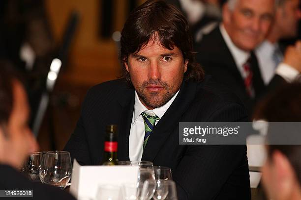 Australian captain Pat Rafter attends the official dinner ahead of the Davis Cup World Group Playoff Tie between Australia and Switzerland at The...