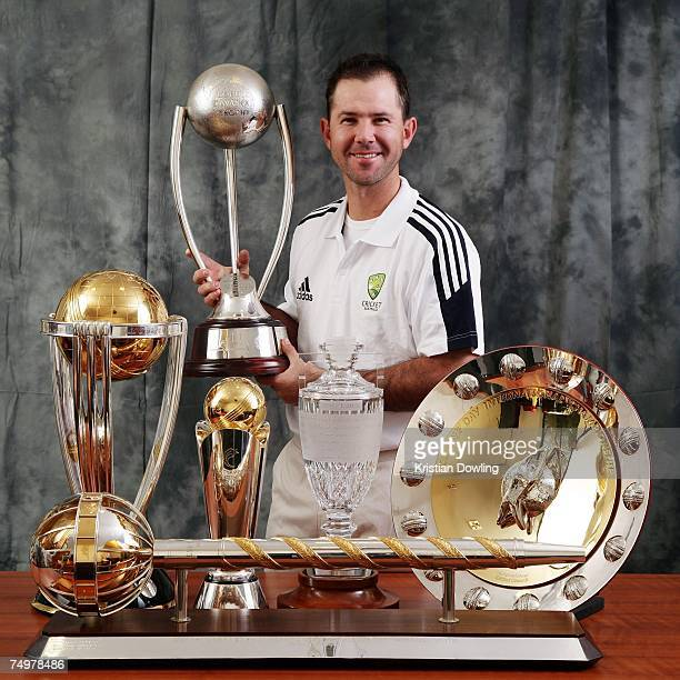Australian captain Ricky Ponting poses with the 2007 ICC Cricket World Cup trophy the 2007 ICC Champions Trophy The Ashes Trophy the ICC One Day...