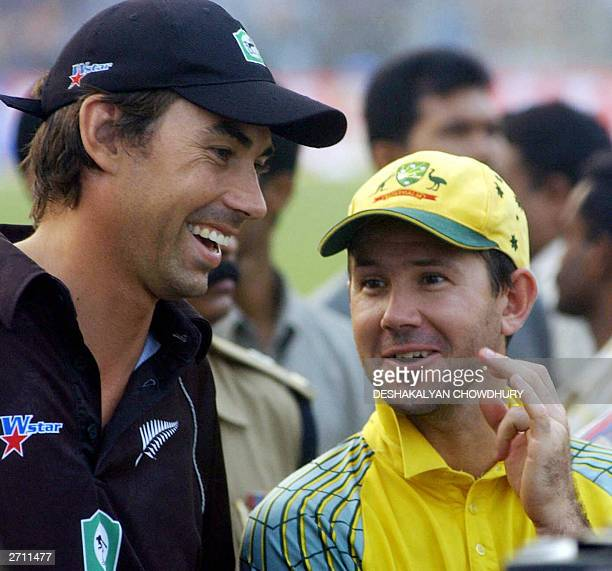 Australian captain Ricky Ponting shares a joke with his New Zealand counterpart Stephen Fleming during the prize distribution ceremony of the TVS...