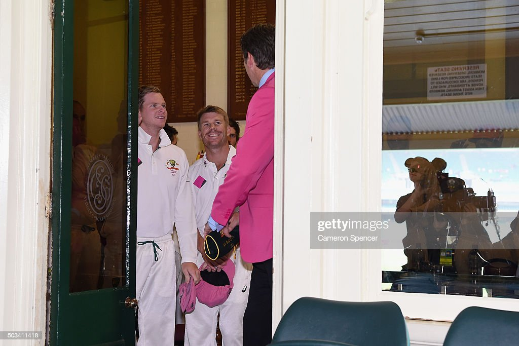 Australian captain Steve Smith and <a gi-track='captionPersonalityLinkClicked' href=/galleries/search?phrase=David+Warner+-+Cricket+Player&family=editorial&specificpeople=4262255 ng-click='$event.stopPropagation()'>David Warner</a> of Australia talk to former Australian bowler <a gi-track='captionPersonalityLinkClicked' href=/galleries/search?phrase=Glenn+McGrath&family=editorial&specificpeople=171418 ng-click='$event.stopPropagation()'>Glenn McGrath</a> on Jane McGrath Day during day three of the third Test match between Australia and the West Indies at Sydney Cricket Ground on January 5, 2016 in Sydney, Australia.