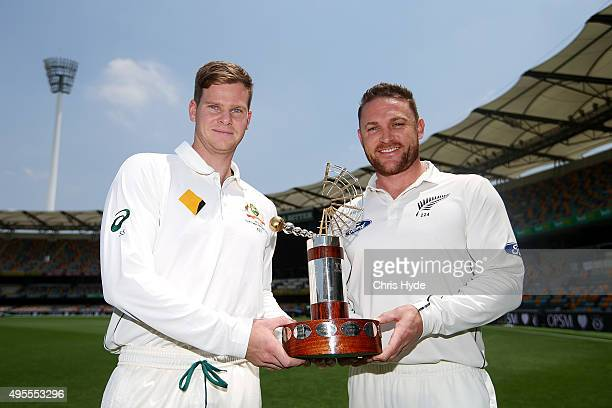Australian captain Steve Smith and New Zealand captain Brendon McCullum hold the TransTasman Trophy during the joint Australian and New Zealand press...