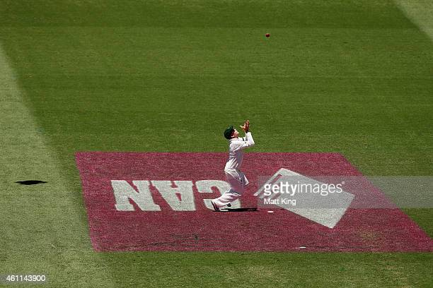 Australian captain Steve Smith drops a catch off Lokesh Rahul of India during day three of the Fourth Test match between Australia and India at...