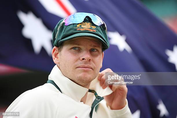 Australian captain Steve Smith looks on during day four of the Third Test match between Australia and Pakistan at Sydney Cricket Ground on January 6...