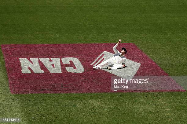 Australian captain Steve Smith looks skyward towrds spidercam after dropping a catch off Lokesh Rahul of India during day three of the Fourth Test...
