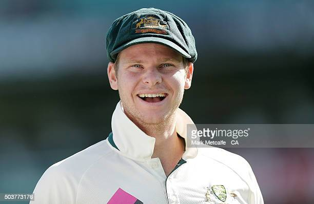 Australian captain Steve Smith smiles after winning the series on day five of the third Test match between Australia and the West Indies at Sydney...