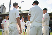 Australian captain Steve Smith talks to his players after winning the series during day five of the third Test match between Australia and the West...
