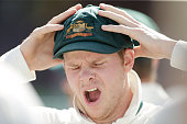 Australian captain Steve Smith yawns at the end of day five of the third Test match between Australia and the West Indies at Sydney Cricket Ground on...