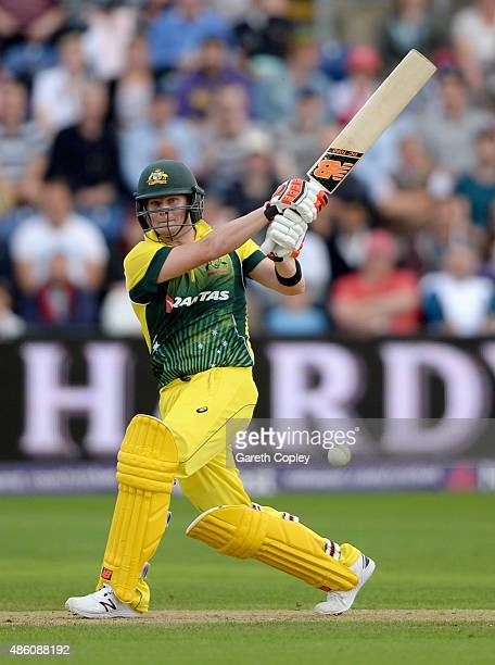 Australian captain Steven Smith bats during the NatWest T20 International match between England and Australia at SWALEC Stadium on August 31 2015 in...