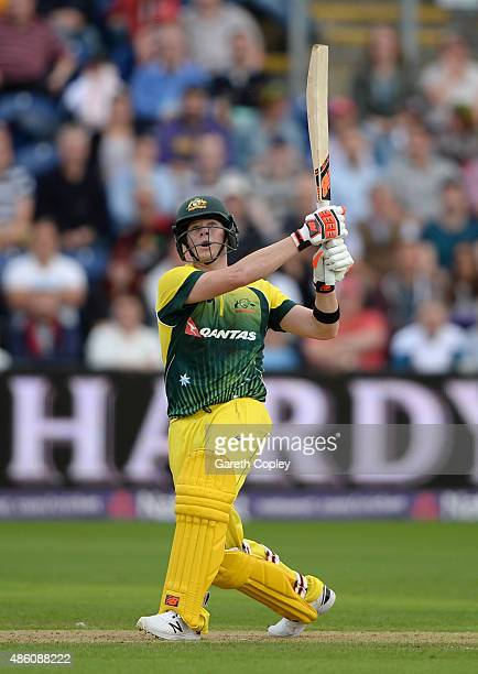 Australian captain Steven Smith hits out for six runs during the NatWest T20 International match between England and Australia at SWALEC Stadium on...