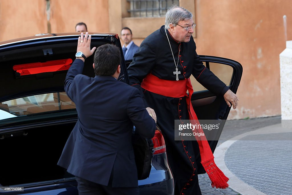 Australian Cardinal <a gi-track='captionPersonalityLinkClicked' href=/galleries/search?phrase=George+Pell&family=editorial&specificpeople=695294 ng-click='$event.stopPropagation()'>George Pell</a> arrives at the Synod Hall for the opening of the Synod on the themes of family on October 6, 2014 in Vatican City, Vatican. The two week General Assembly will discuss the 'The Pastoral Challenges of the Family in the Context of the Evangelization'.