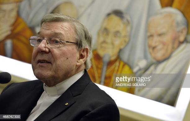Australian Cardinal George Pell Prefect of the Secretariat for the Economy of the Holy See attends a press conference on March 31 2014 in Vatican...