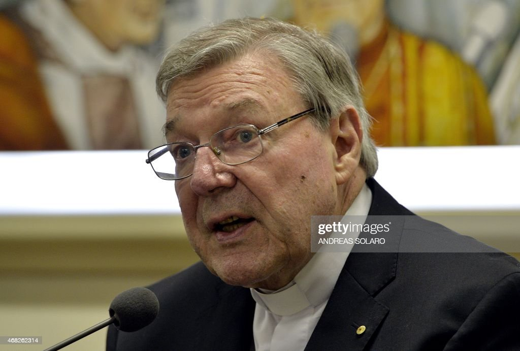 Australian Cardinal George Pell, Prefect of the Secretariat for the Economy of the Holy See, attends a press conference on March 31, 2014 in Vatican. Cardinal George Pell and Italian writer Francesco Lozupone presented the book 'Co-responsability and transparency in the administration of church property'. AFP PHOTO / ANDREAS SOLARO