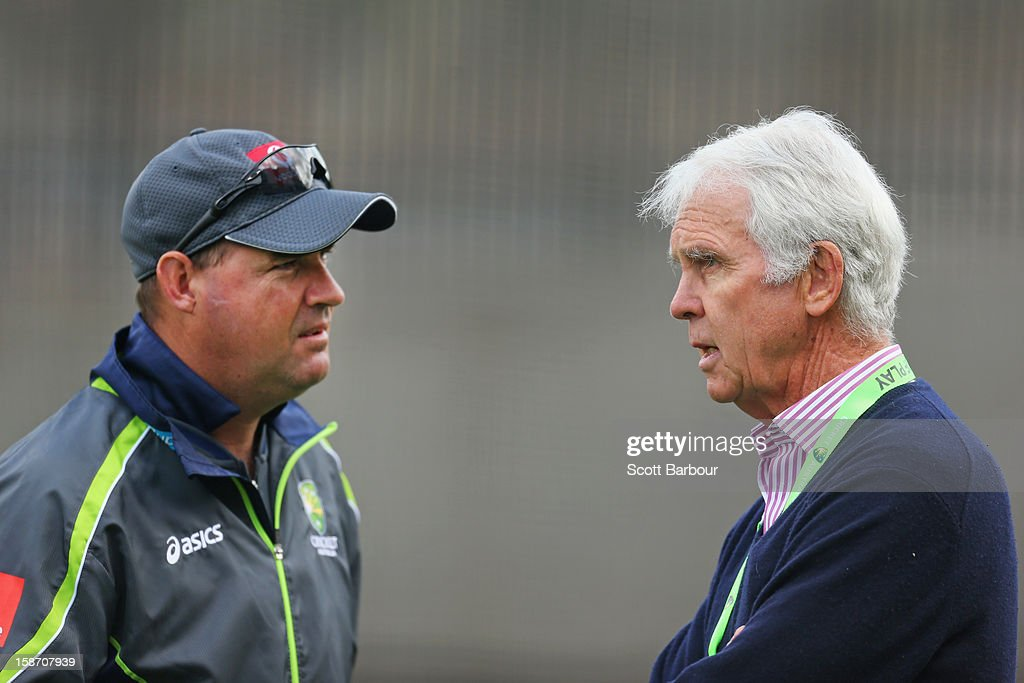 Australian Chairman of Selectors John Inverarity (R) speaks with Australian coach <a gi-track='captionPersonalityLinkClicked' href=/galleries/search?phrase=Mickey+Arthur&family=editorial&specificpeople=789398 ng-click='$event.stopPropagation()'>Mickey Arthur</a> during an Australian nets session at Melbourne Cricket Ground on December 25, 2012 in Melbourne, Australia.