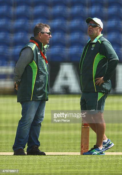 Australian Chairman of Selectors Rod Marsh and Australian coach Darren Lehmann inspect the pitch during a nets session ahead of the 1st Investec...