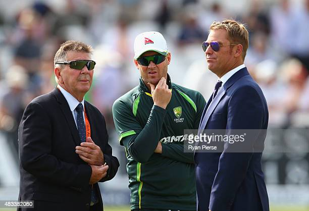 Australian Chairman of Selectors Rod Marsh speaks to Michael Clarke of Australia and former Australian Test Bowler Shane Warne before play during day...