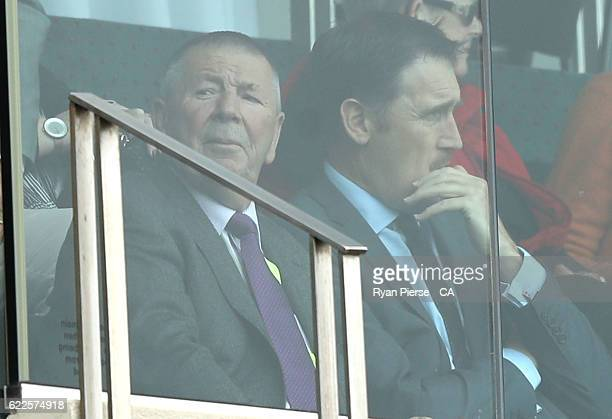 Australian Chairman of Selectors Rod Marsh speaks with Cricket Australia CEO James Sutherland during day one of the Second Test match between...