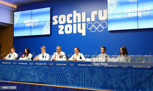 Australian chef de mission Ian Chesterman speaks to the media with skiers Matt Graham Nicole Parks Brodie Summers Britteny Cox Sam Hall and Taylah...