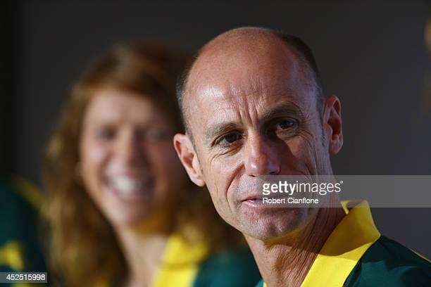 Australian Chef de Mission Steve Moneghetti speaks to the media during an Australian press conference at the SECC on July 22 2014 in Glasgow Scotland