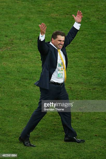 Australian Coach Ange Postecoglou celebrates at full time following the 2015 Asian Cup final match between Korea Republic and the Australian...