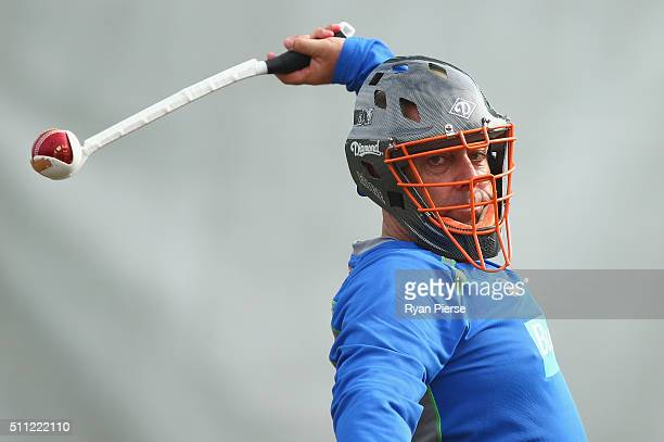 Australian coach Darren Lehmann trains during an Australia nets session at Hagley Oval on February 19 2016 in Christchurch New Zealand