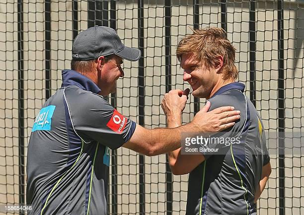 Australian coach Mickey Arthur talks with Shane Watson of Australia during an Australian nets session at Melbourne Cricket Ground on December 23 2012...