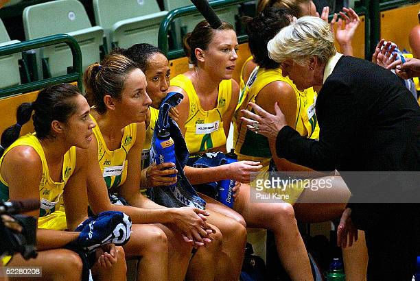 Australian coach Norma Plummer addresses her players during the 1st game of the International Netball series between Australia and South Africa at...