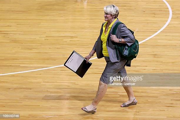 Australian coach Norma Plummer walks off the court after losing the Women Finals Gold medal match between Australia and New Zealand at the Thyagaraj...
