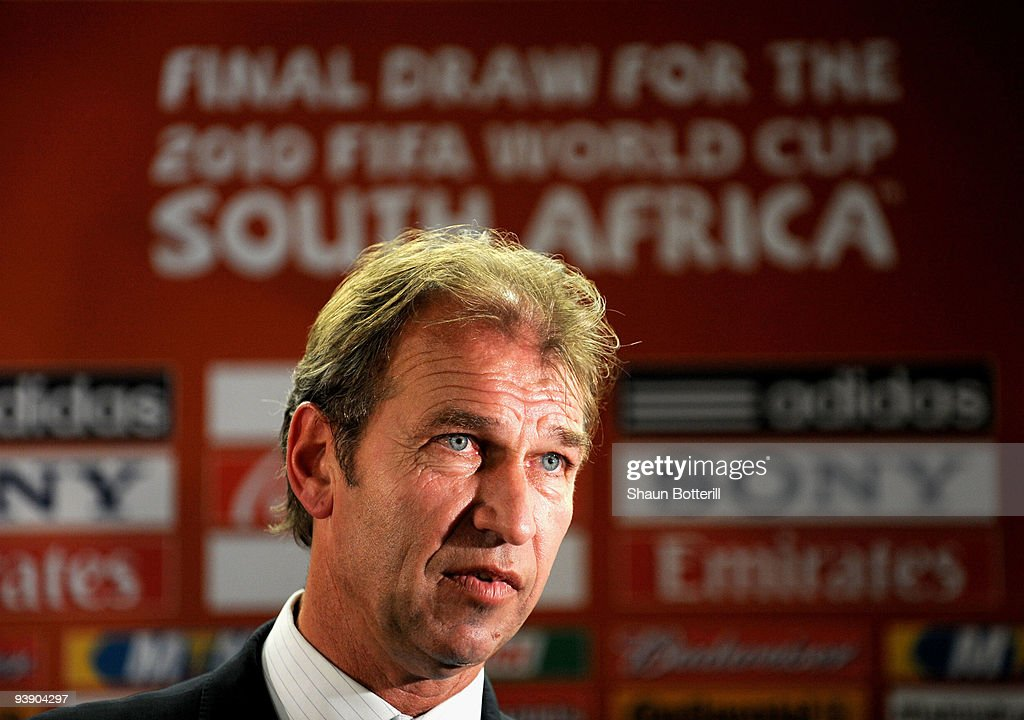 Australian coach Pim Verbeek speaks after the Final Draw for the FIFA World Cup 2010 December 4, 2009 at the International Convention Centre in Cape Town, South Africa.