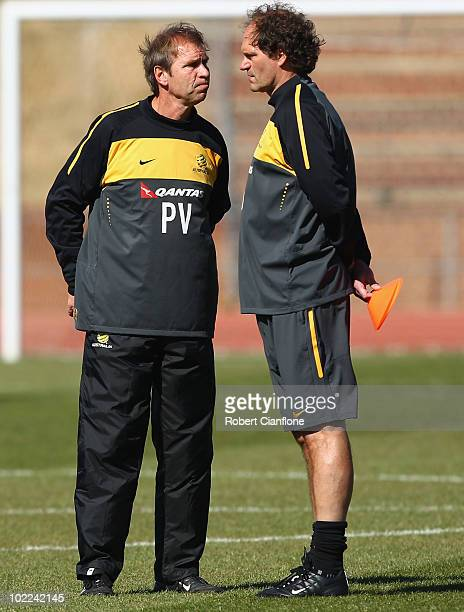 Australian coach Pim Verbeek talks with assistant coach Henk Duut during an Australian Socceroos training session at Ruimsig Stadium on June 20 2010...