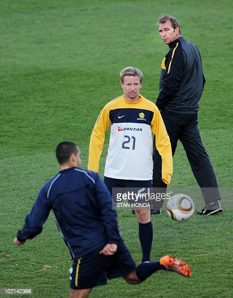 Australian coach Pim Verbeek watches players during a team training session at Ruimsig Stadium in Roodepoort on June 16 2010 during the 2010 World...