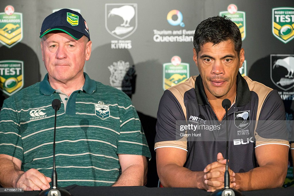 Australian coach Tim Sheens and New Zealand coach Stephen Kearney at a press conference ahead of the international Test match at Suncorp Stadium on April 30, 2015 in Brisbane, Australia.