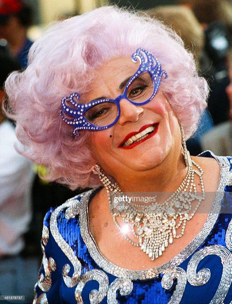 Australian comedian <a gi-track='captionPersonalityLinkClicked' href=/galleries/search?phrase=Barry+Humphries&family=editorial&specificpeople=206650 ng-click='$event.stopPropagation()'>Barry Humphries</a> as Dame Edna Everage, circa 1993.