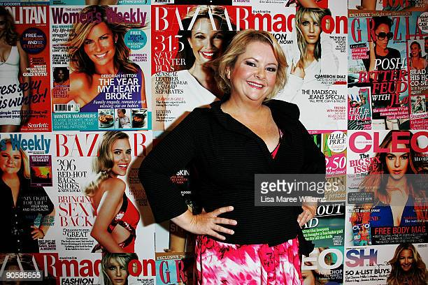 Australian comedian Magda Szubanski speaks to media during 'Magazines Go Live' as part of the 30 Days of Fashion and Beauty at the Royal Hall of...