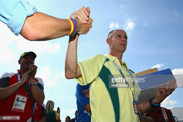 Australian Commonwealth Games chef de mission Steve Moneghetti leaves after the Australian team flag raising ceremony at the Athletes Village ahead...