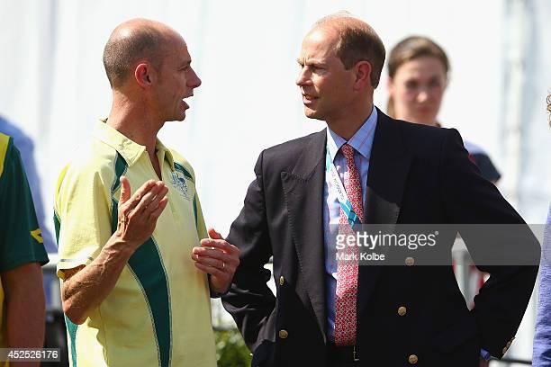 Australian Commonwealth Games chef de mission Steve Moneghetti speaks to Prince Edward Earl of Wessex during the Australian team flag raising...